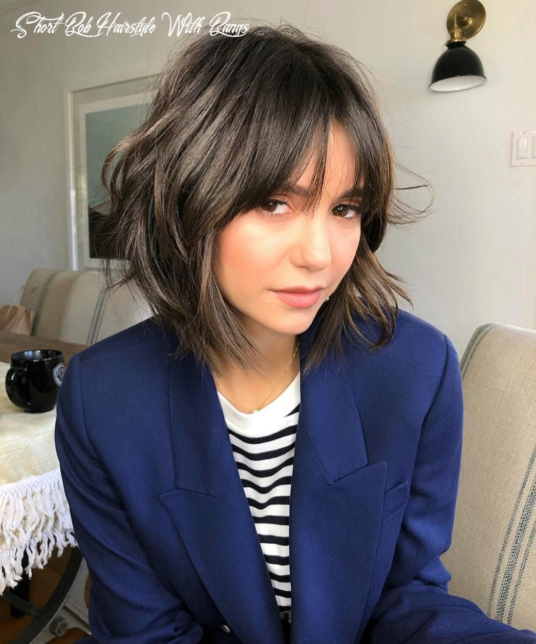 Pin on who does your hair? short bob hairstyle with bangs