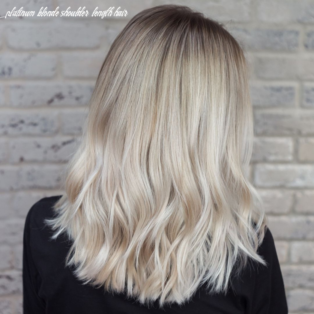 Platinum blonde back side view of ombre for medium length (mit