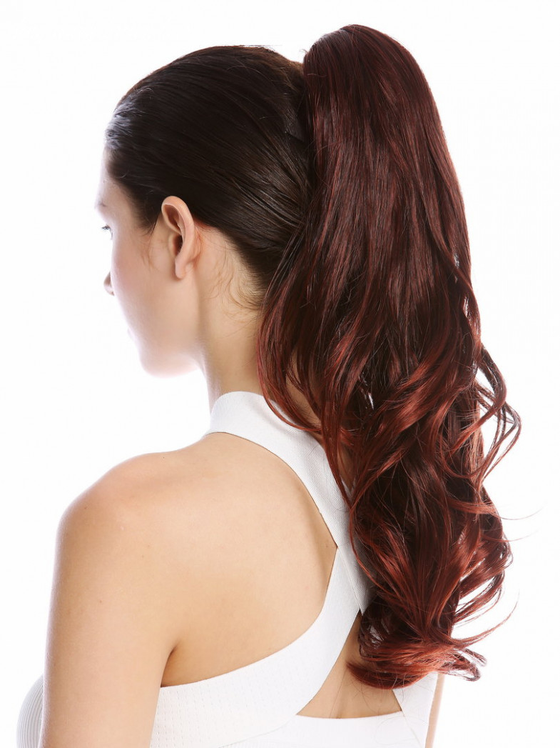 Ponytail Hairpiece optional Combs & Clamp long wavy curled black streaked  red highlights 12""