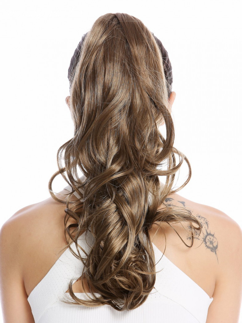 """Ponytail hairpiece optional combs & clamp long wavy slightly curled light brown brunette12"""" long wavy brown hair"""