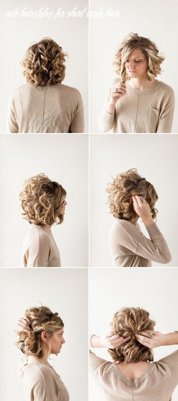 Pretty updo hairstyle for short curly hair for more inbetweenie