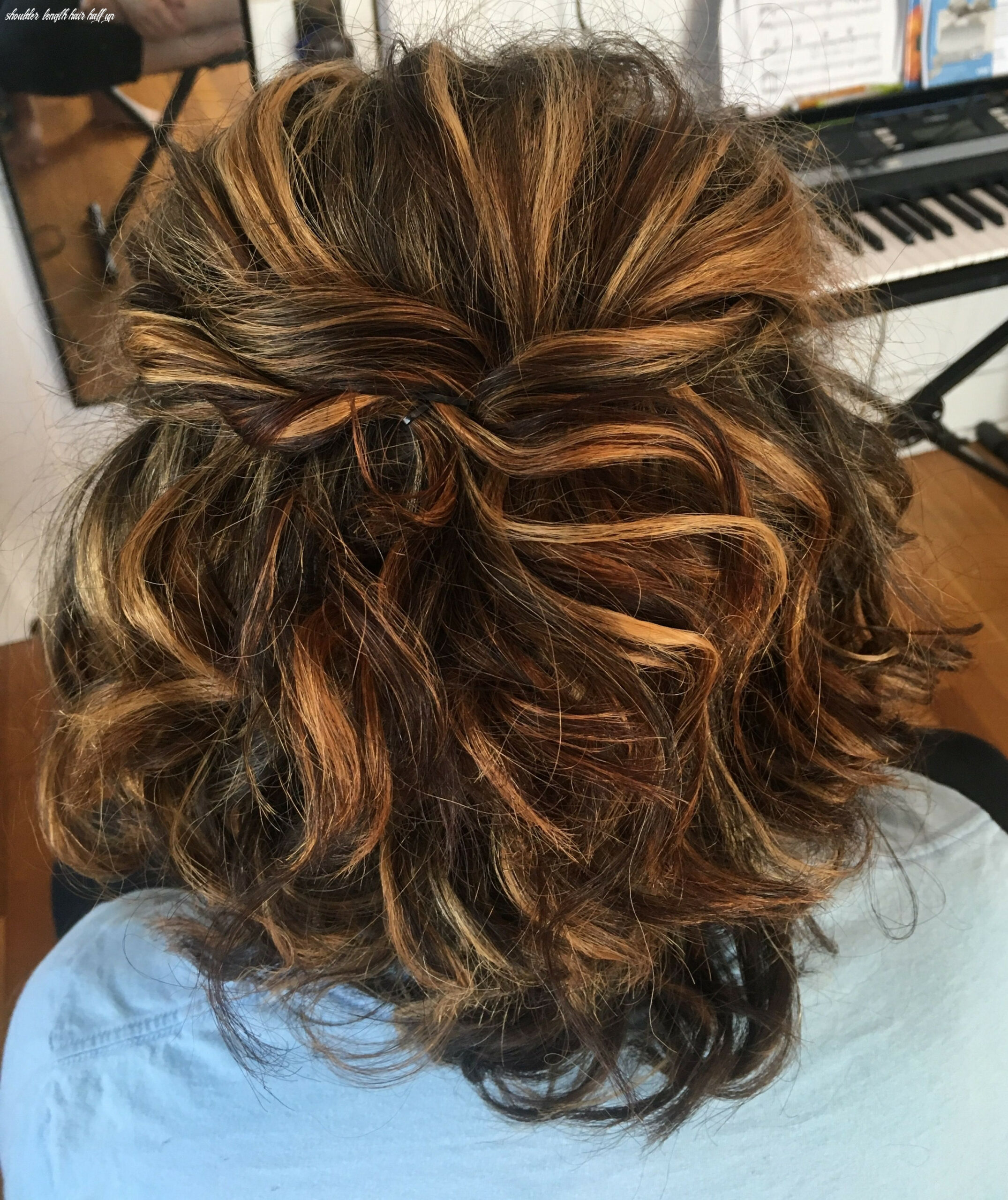 Prom hairstyle for shoulder length hair, half up half down and ...