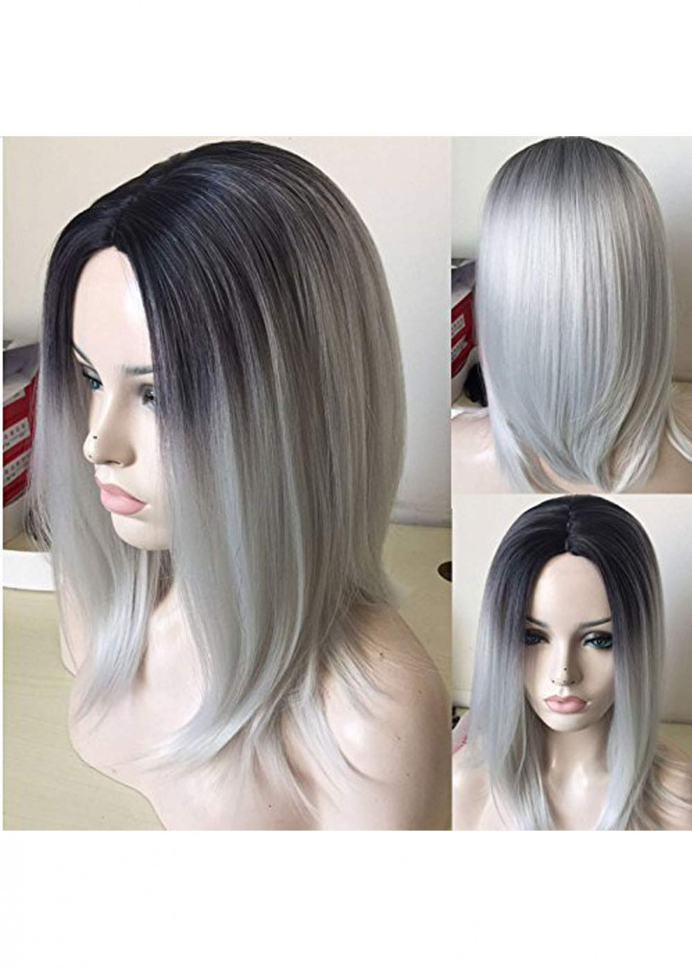 Qianbaihui gray bob wigs for women medium straight black rooted ombre grey wigs heat resistant synthetic hair wigs (black ombre silver) lds11 medium silver hair