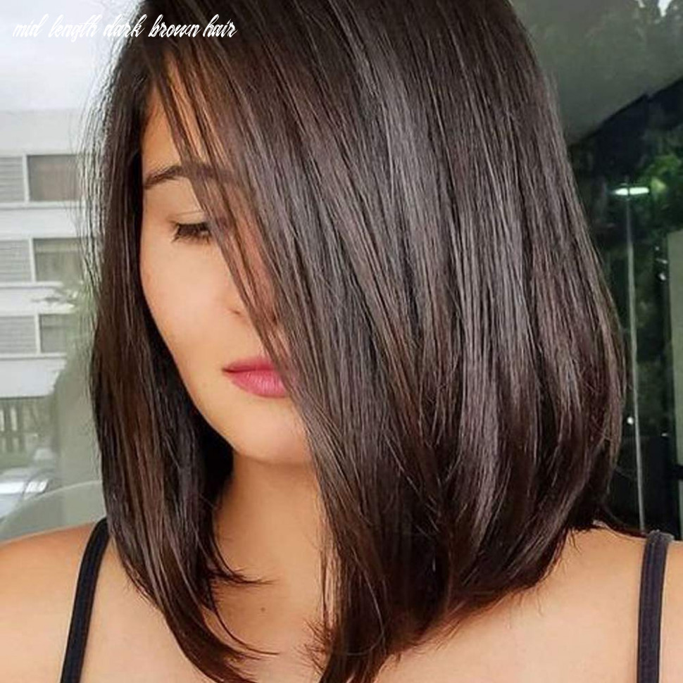Queentas 11inch shoulder length wig short bob natural looking straight synthetic medium hair wigs for white women with wig cap(dark brown #11) mid length dark brown hair