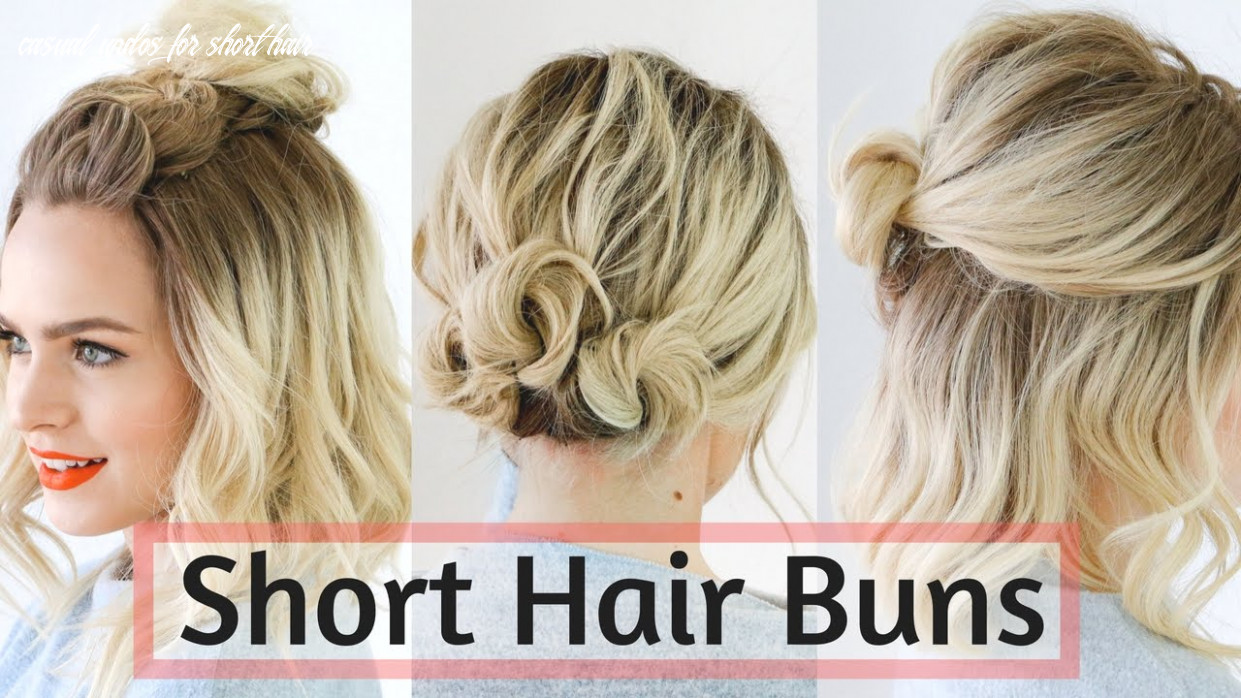 Quick bun hairstyles for short / medium hair hair tutorial! casual updos for short hair