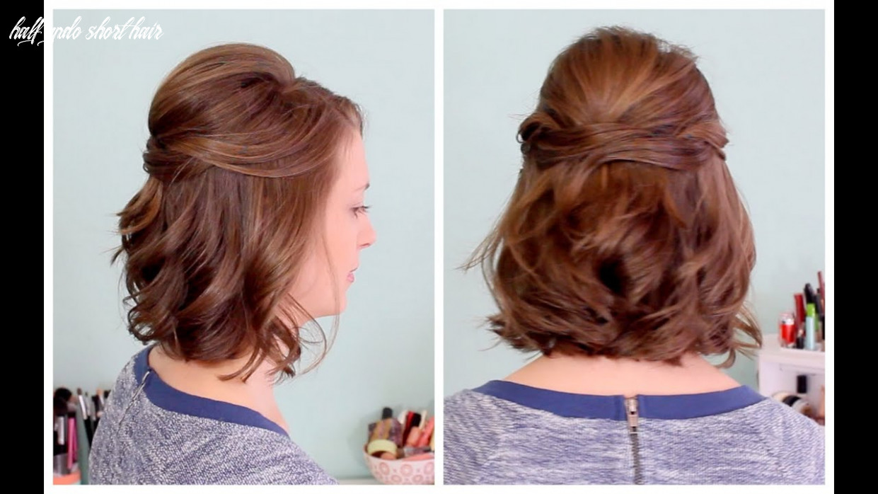 Quick half up hairstyle for short hair half updo short hair