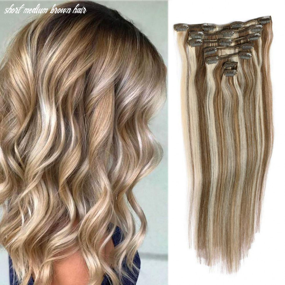 """Remy clip in hair extensions blonde balayage 8grams 8"""" short straight human hair extensions clips in medium brown to bleach blonde highlights 8"""