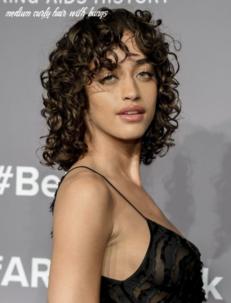 See how to style curly hair and bangs the a list way medium curly hair with bangs