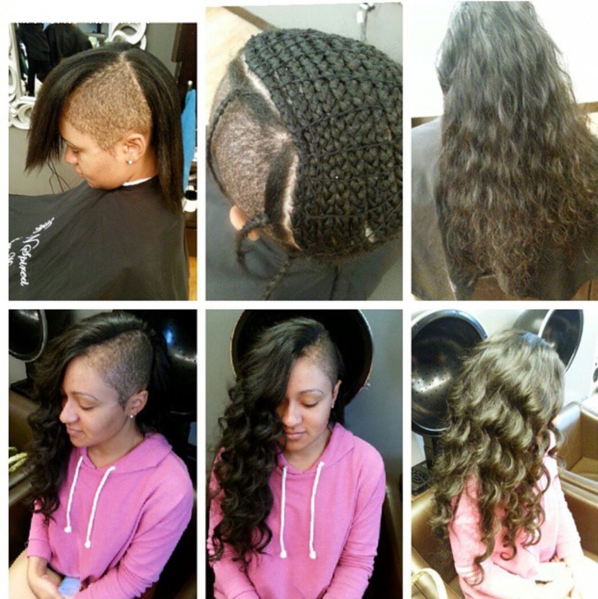Sew in shaved sides braid extensions wavy human hair | shaved side