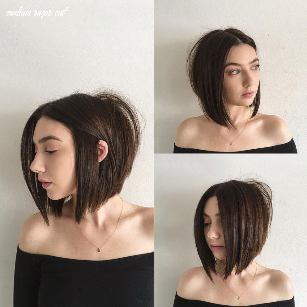Sexy blunt razor cut bob with center part and brunette color | by