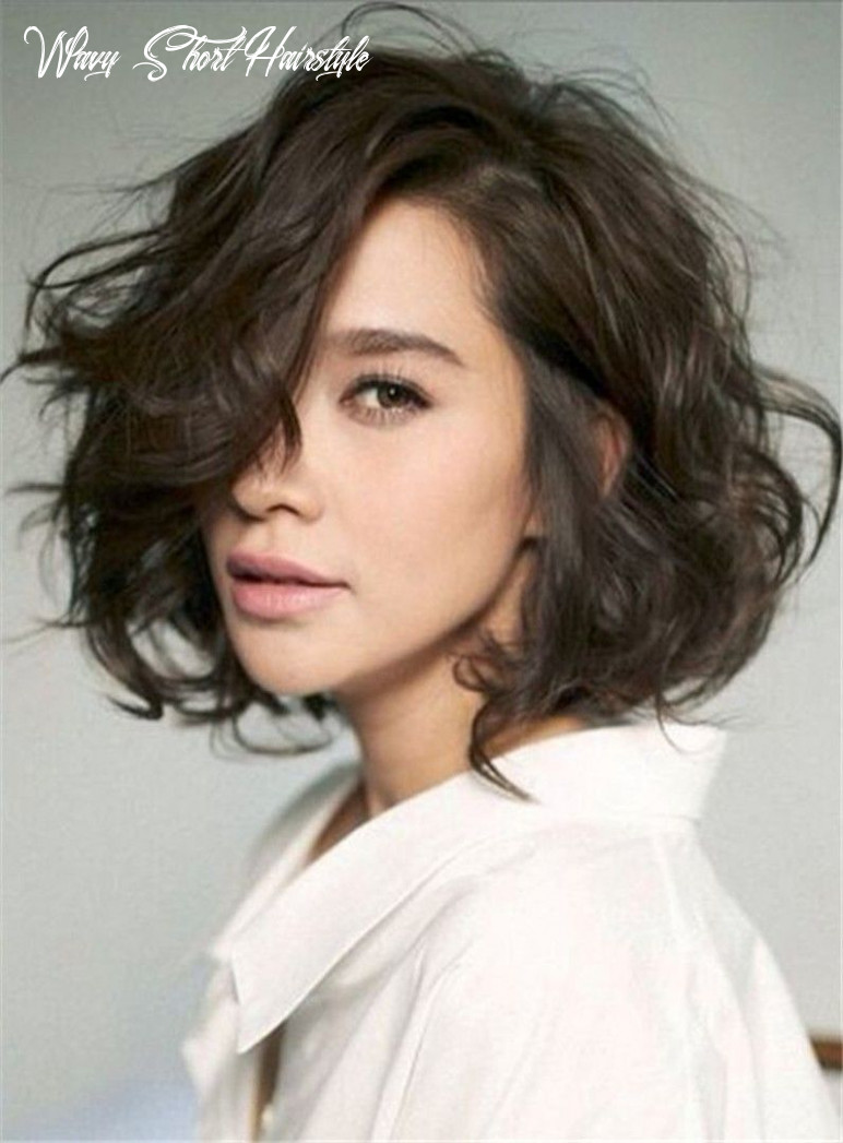 Shag lobs loose wavy short hairstyle side swept fringes lace front