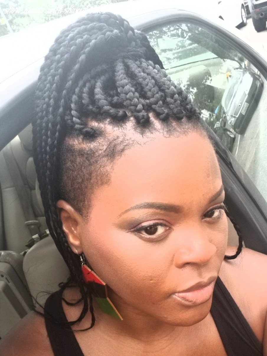 Shaved back and sides with box braids | braids with shaved sides