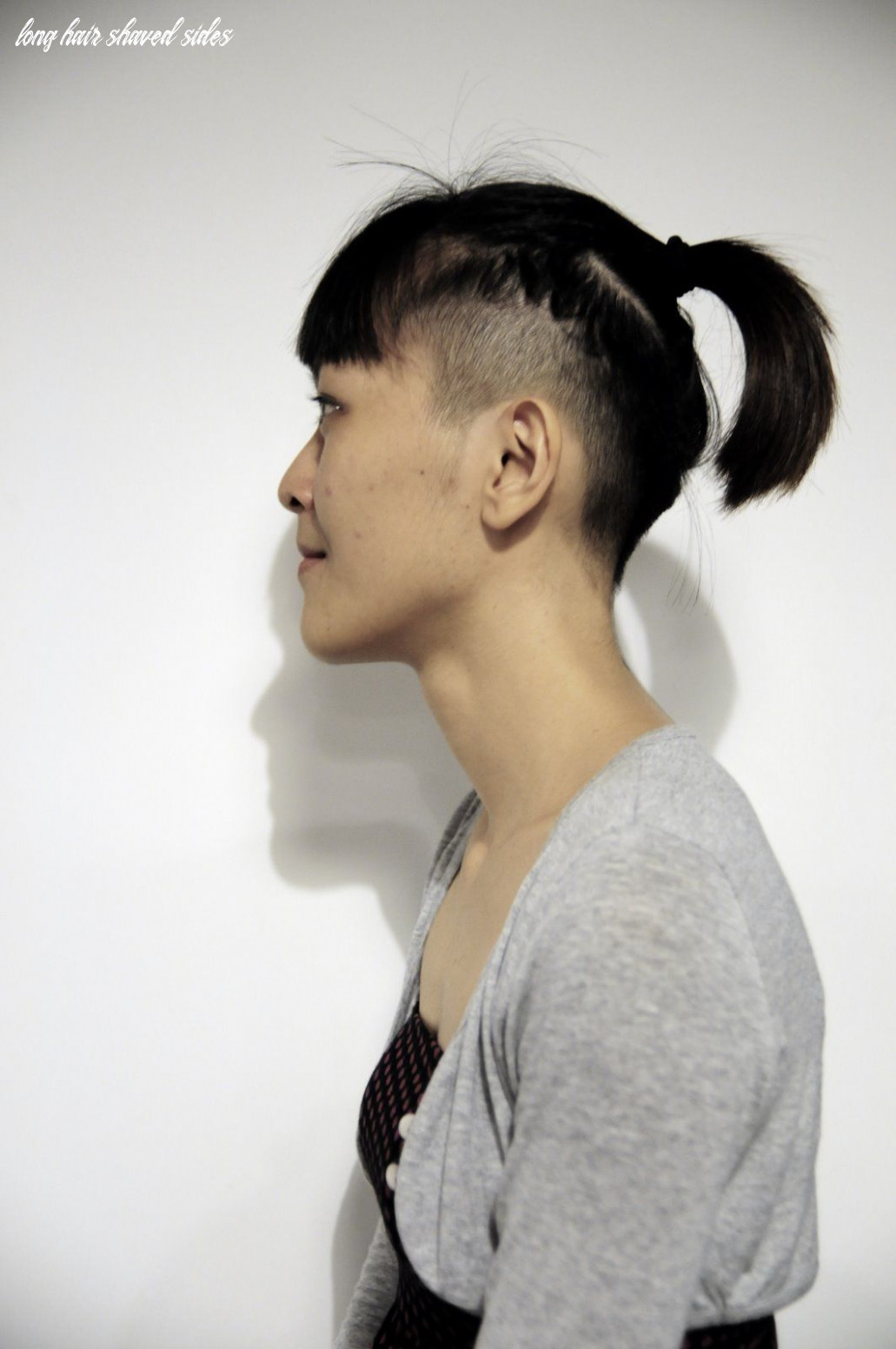 shaved sides | Long hair shaved sides, Asian hair, Wavy curly hair