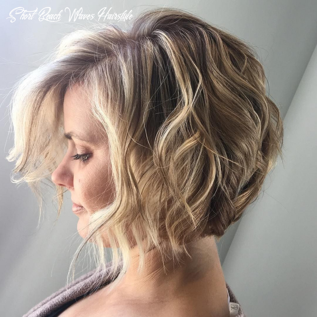 Short Angled Bob Wavy Hair Beach Waves Bohemian Hair Blonde ...