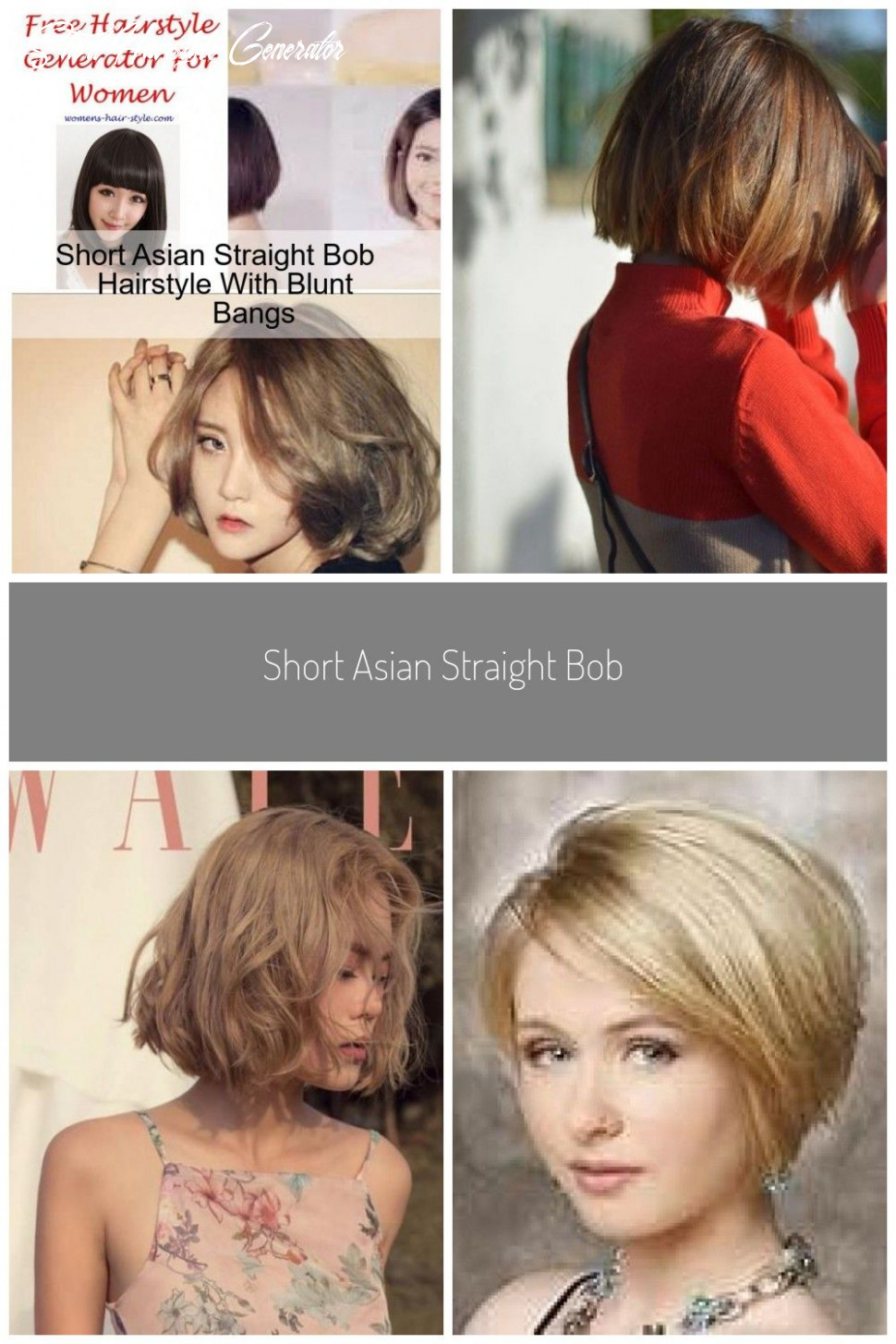 Short asian straight bob hairstyle with blunt bangs asian bangs