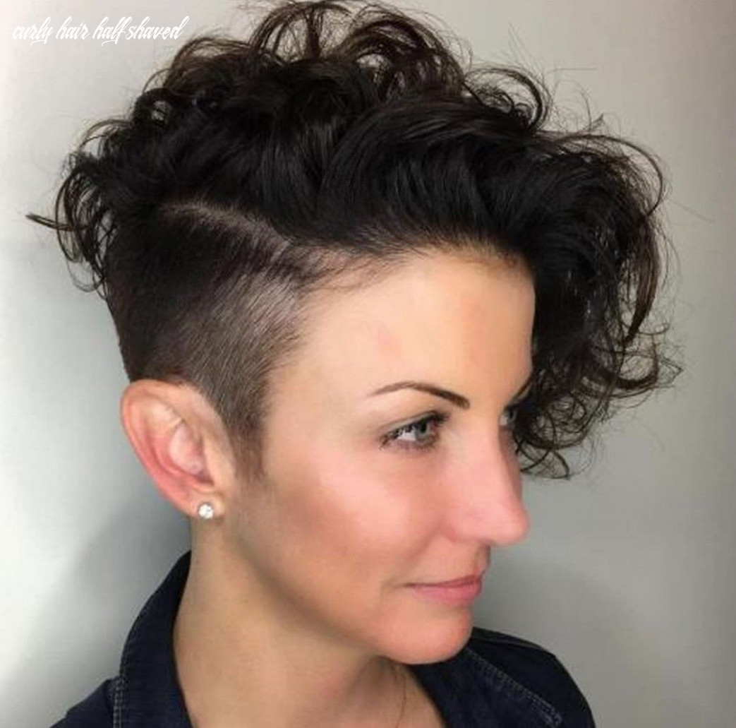 Short asymmetrical curly haircut pixie shaved side | undercut