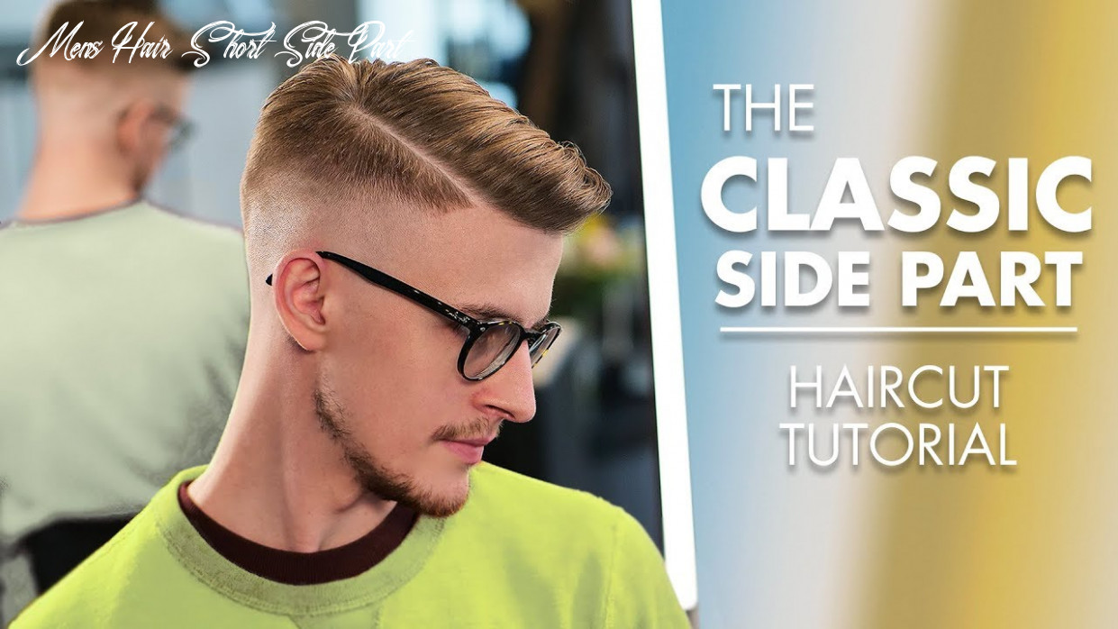 Short hairstyle side part haircut with machine and scissor mens hair short side part