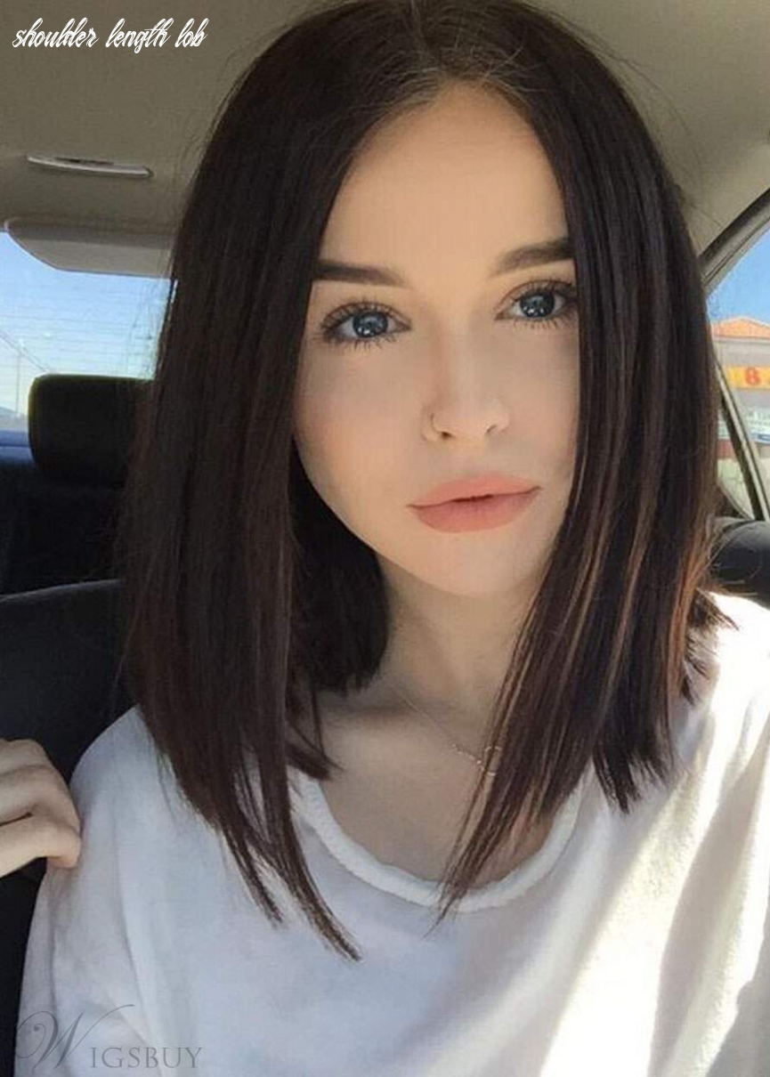 Shoulder length lob hairstyle silky straight natural color human
