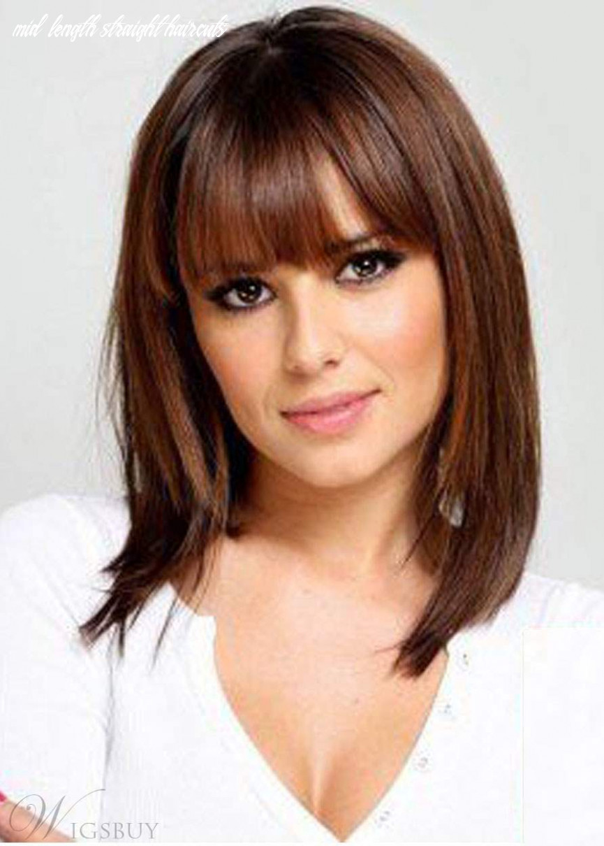 Shoulder length natural straight haircut with bangs synthetic hair lace front wigs 8 inches mid length straight haircuts