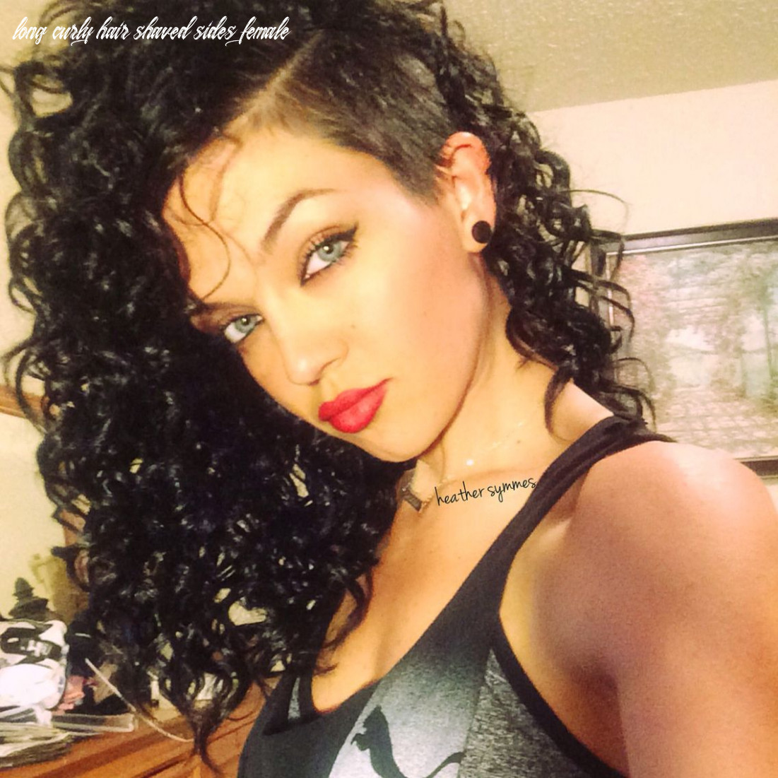 Side shaved dark hair :) | shaved side hairstyles, shaved curly