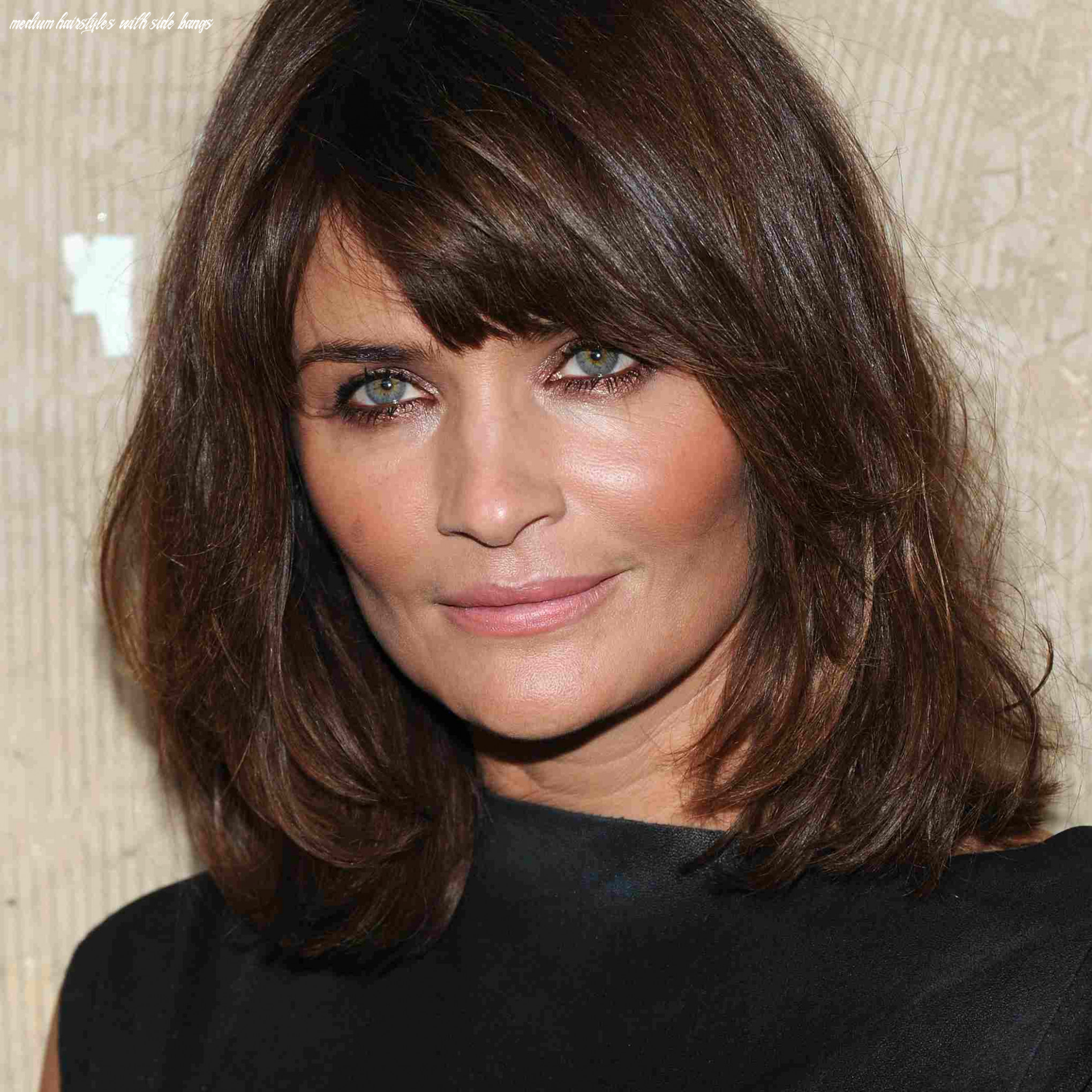 Side swept bangs, shoulder length hair for square faces medium hairstyles with side bangs