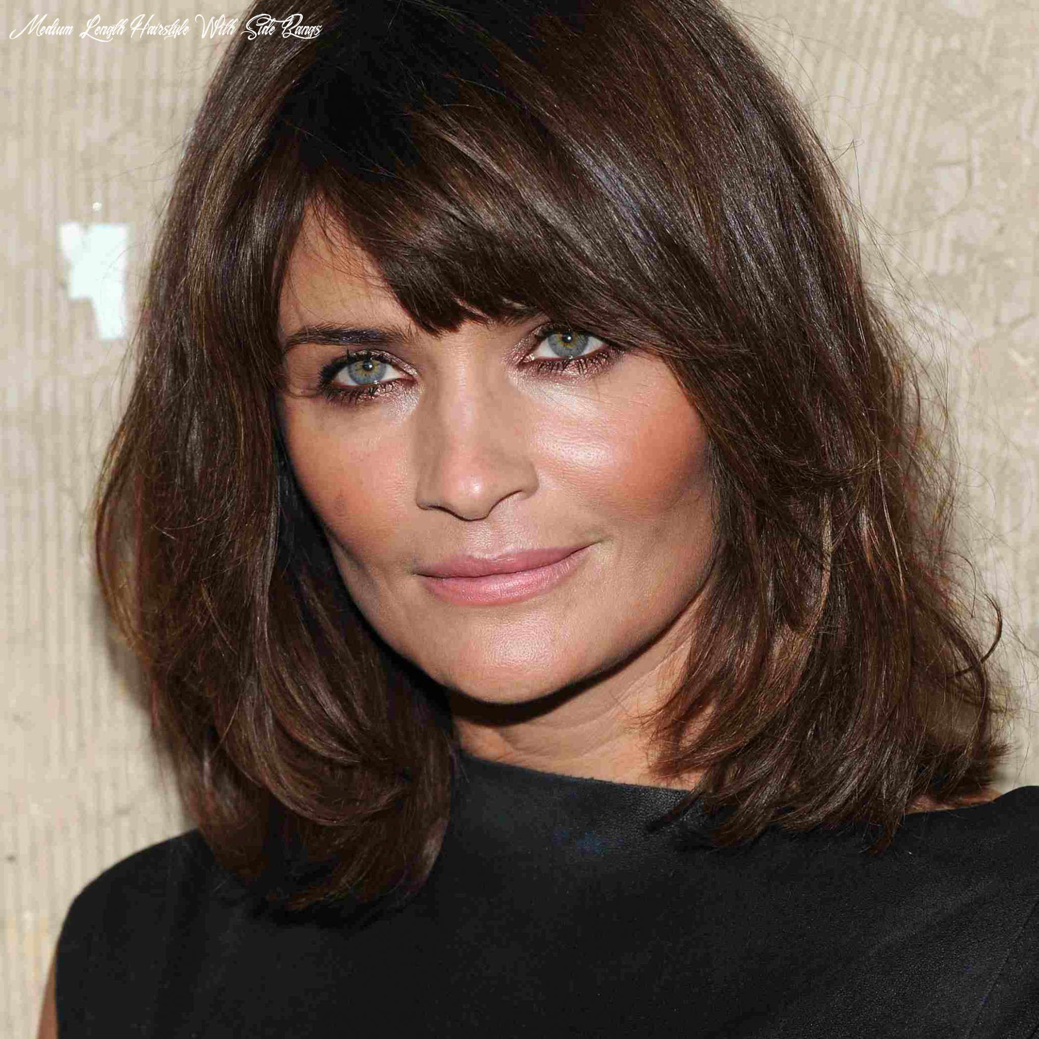 Side swept bangs, shoulder length hair for square faces medium length hairstyle with side bangs