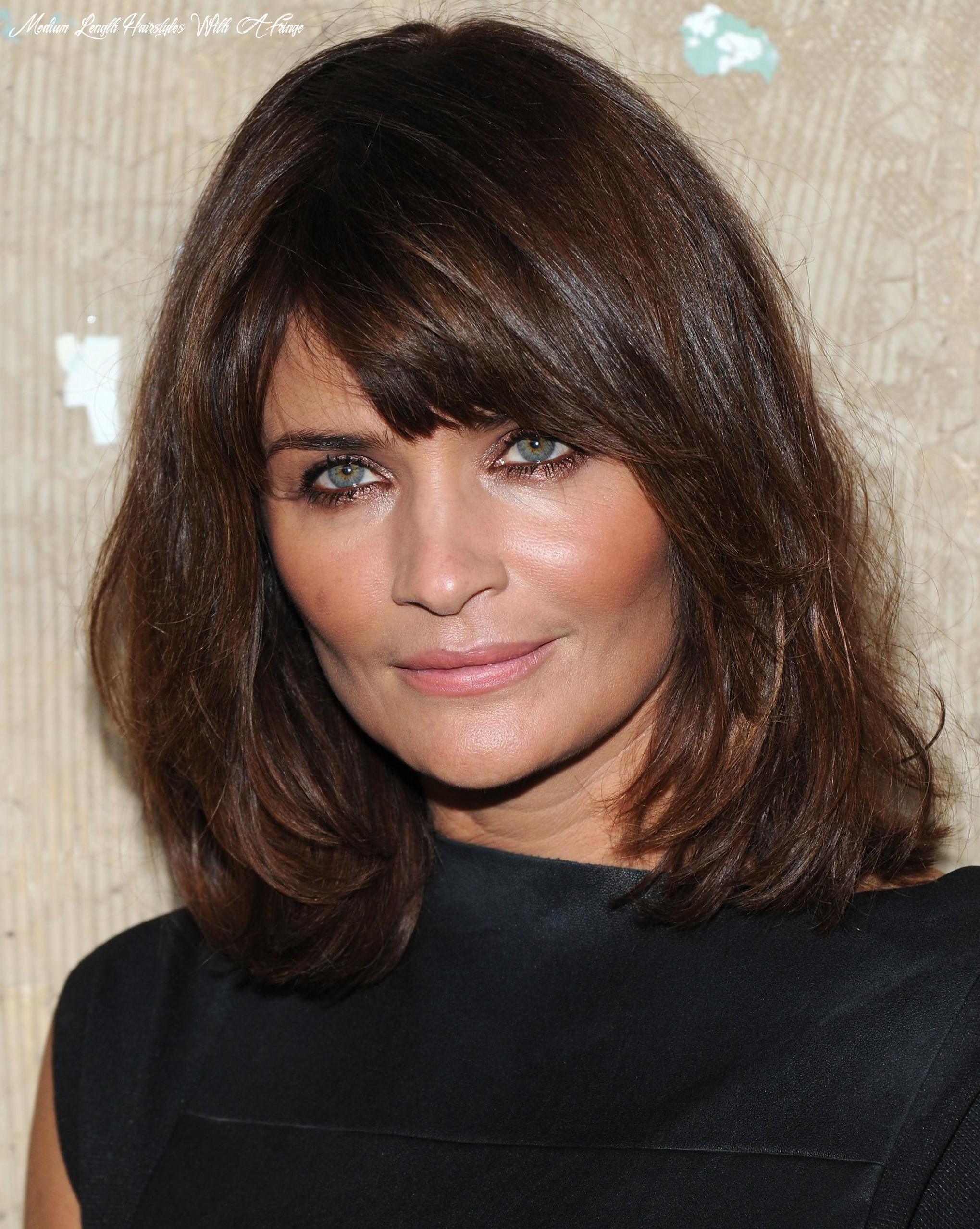 Side swept bangs, shoulder length hair for square faces medium length hairstyles with a fringe