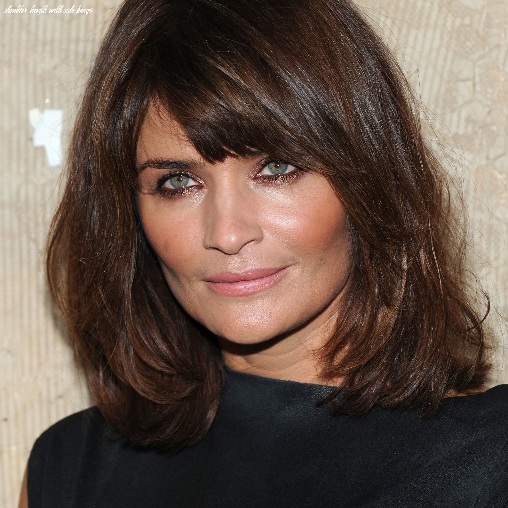 Side swept bangs, shoulder length hair for square faces shoulder length with side bangs