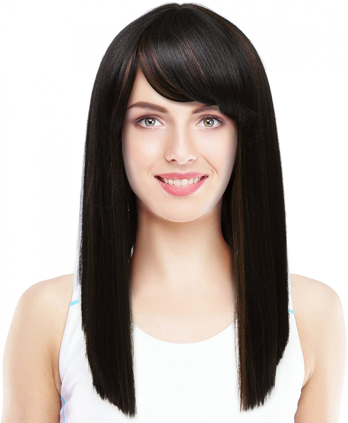 Silky straight wig with bangs natural looking medium length blunt cut synthetic full hair wig for women medium straight hair with bangs
