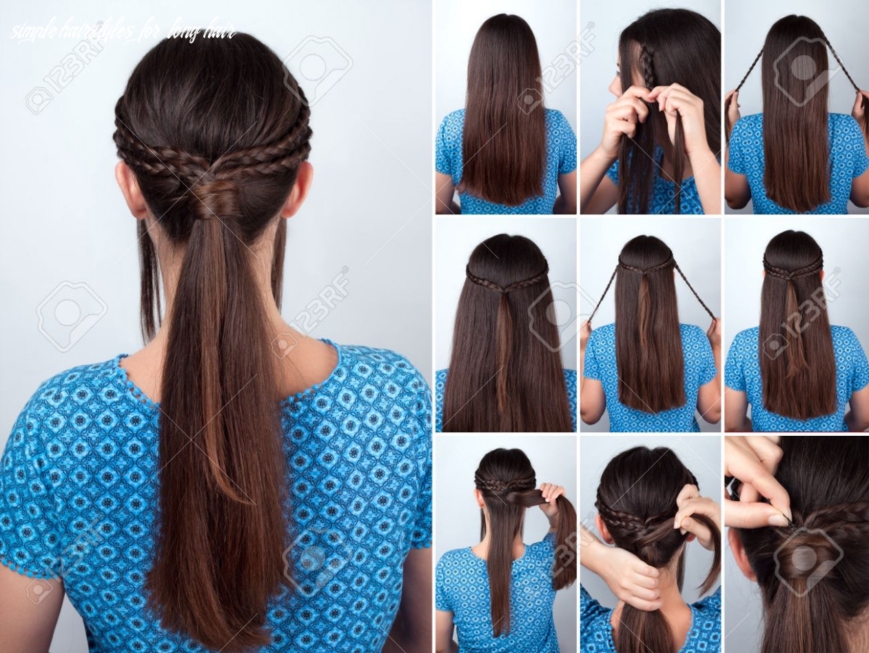 Simple hairstyle pony tail with braids hair tutorial hairstyle