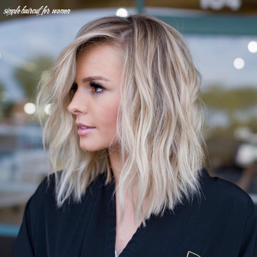 Simple lob hair styles for women, shoulder length haircut with