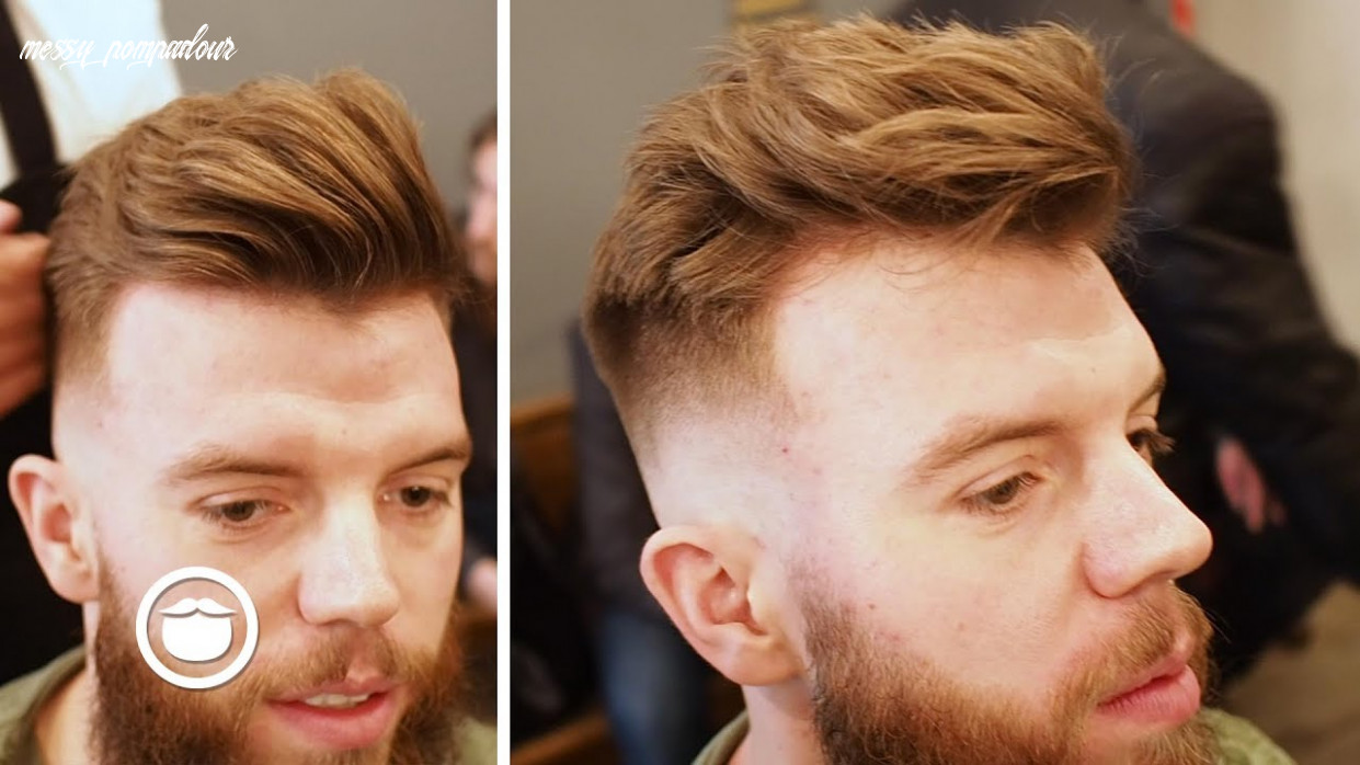 Skin fade with messy pompadour and beard trim messy pompadour