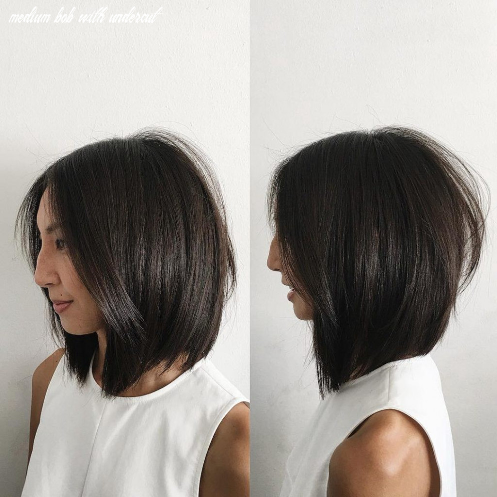 Soft Layered Undercut Bob with Curtain Part and Straight Texture