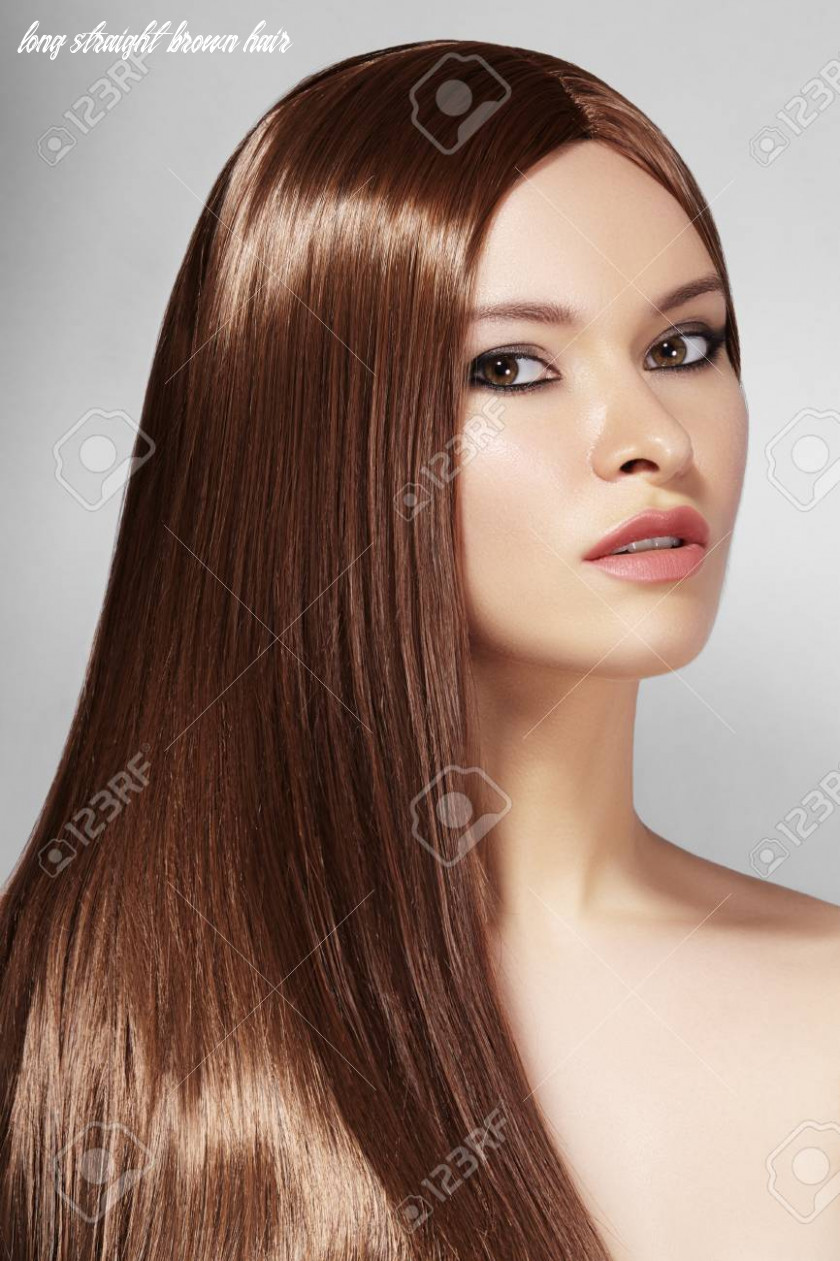 Stock photo long straight brown hair