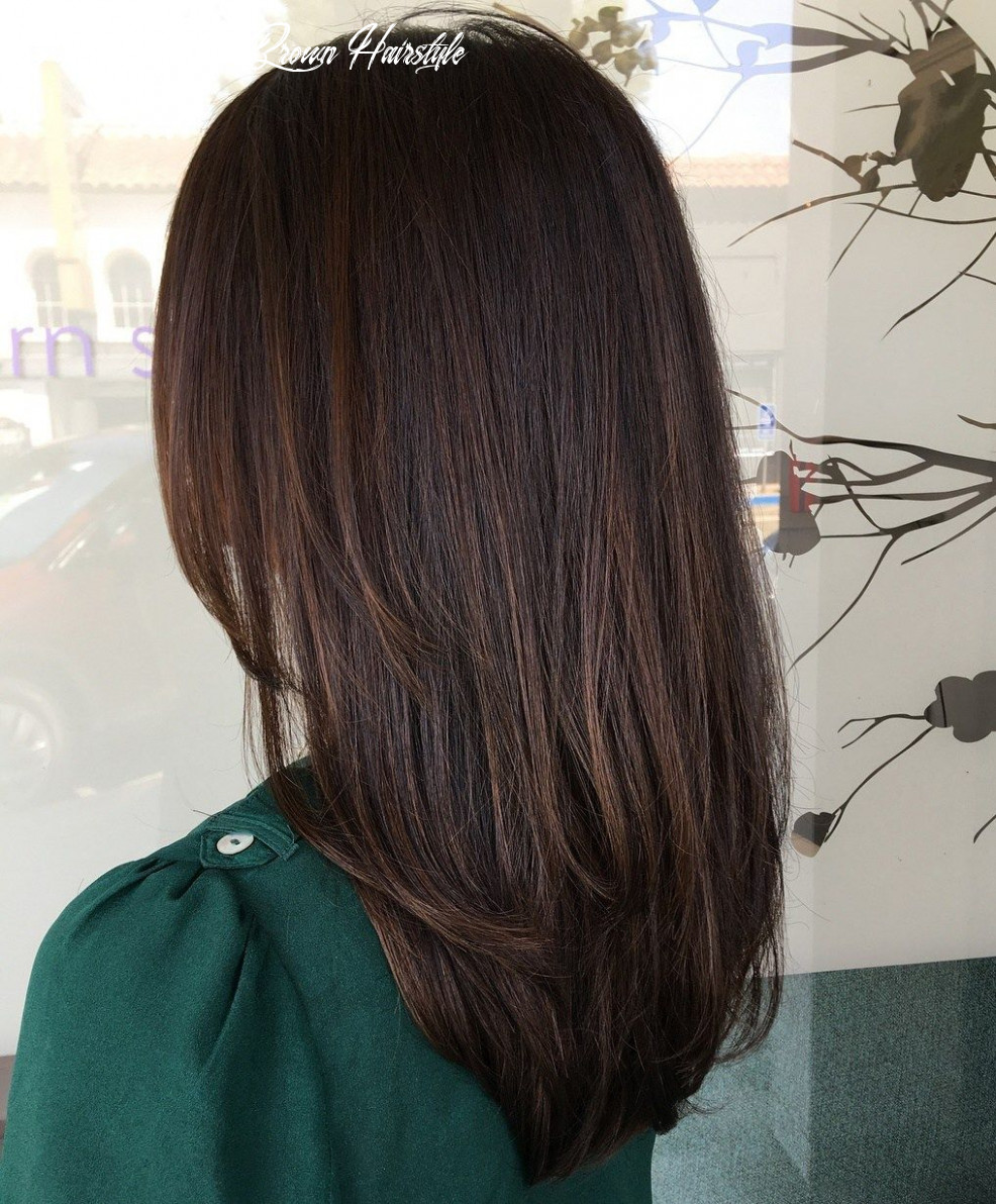 Straight dark brown highlighted hairstyle   hair highlights, brown