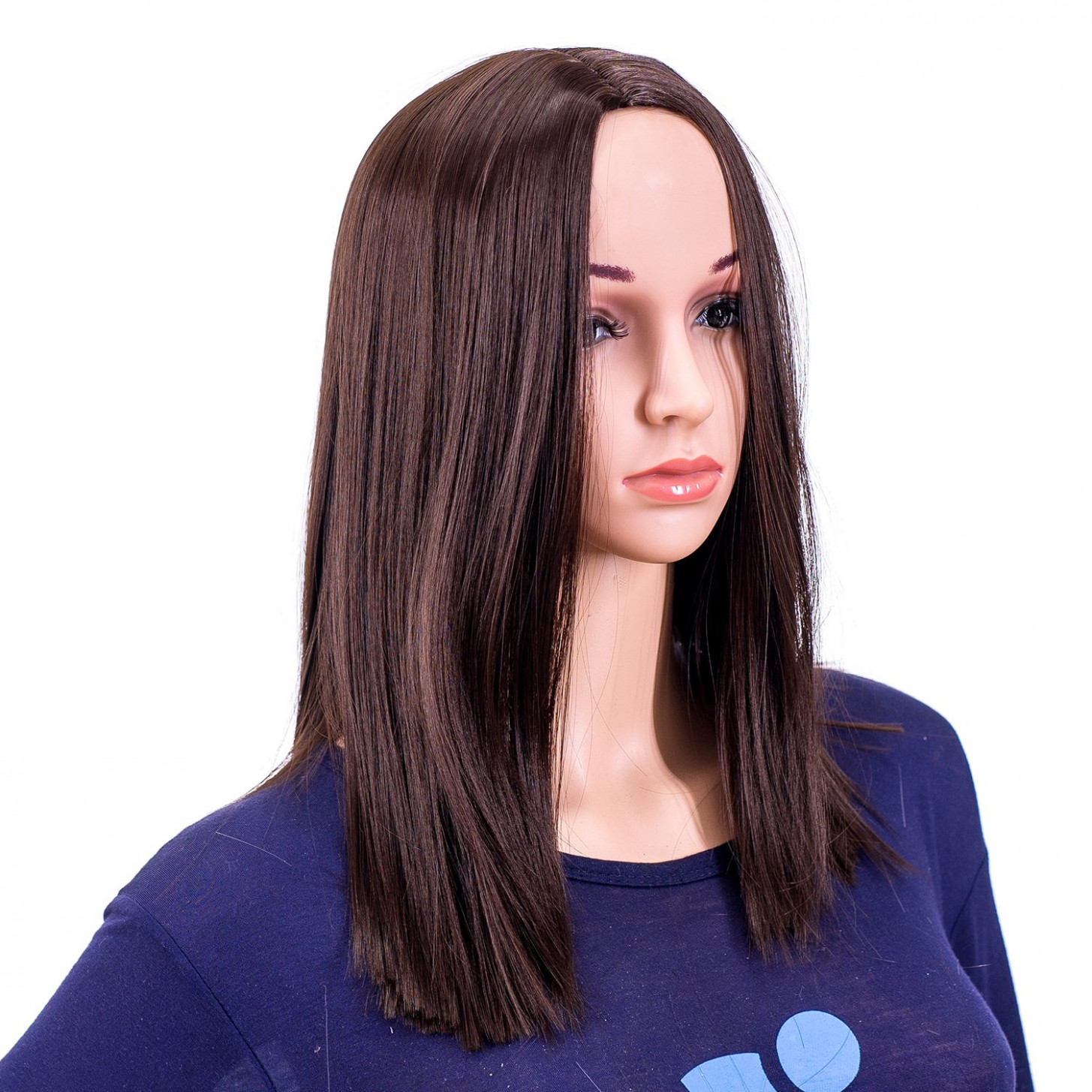 Swacc 12 inch short straight middle part hair wig medium length synthetic heat resistant wigs for women with wig cap (dark brown 12#) brown medium hair