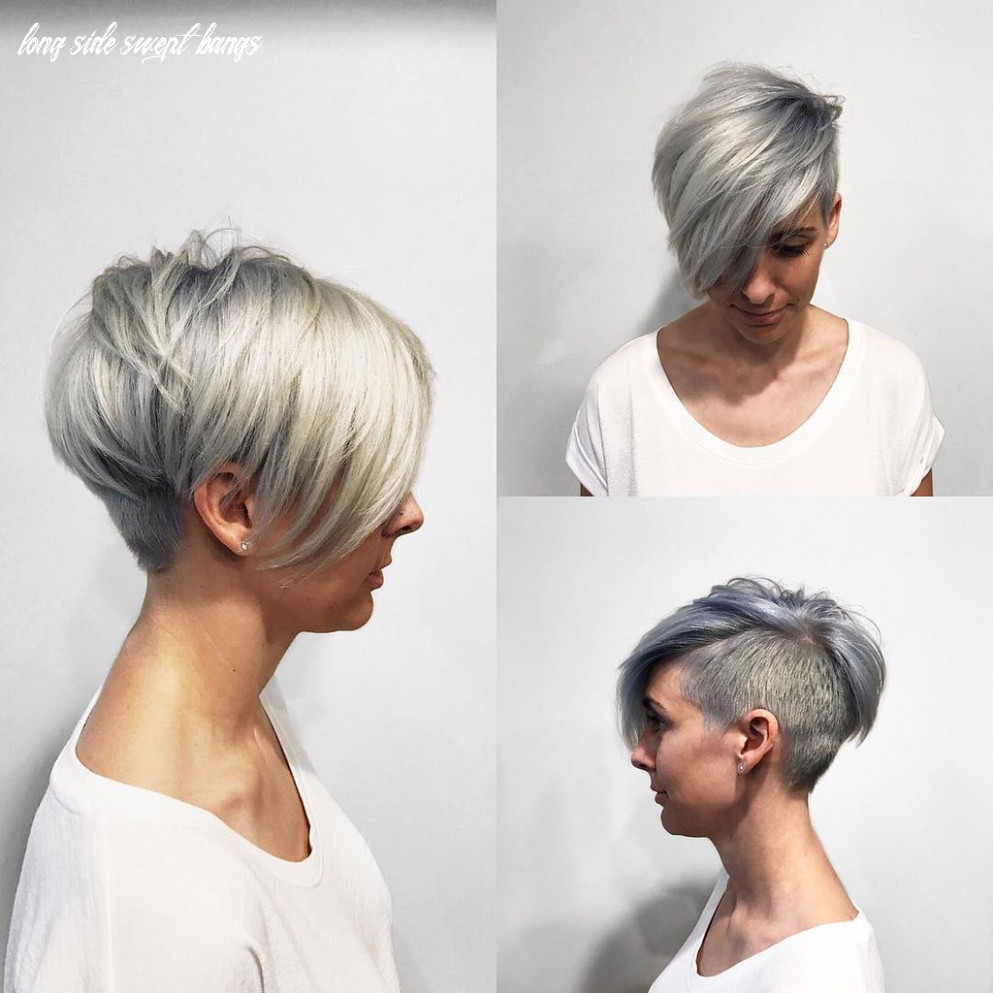 Textured platinum undercut pixie with long side swept bang…   flickr long side swept bangs