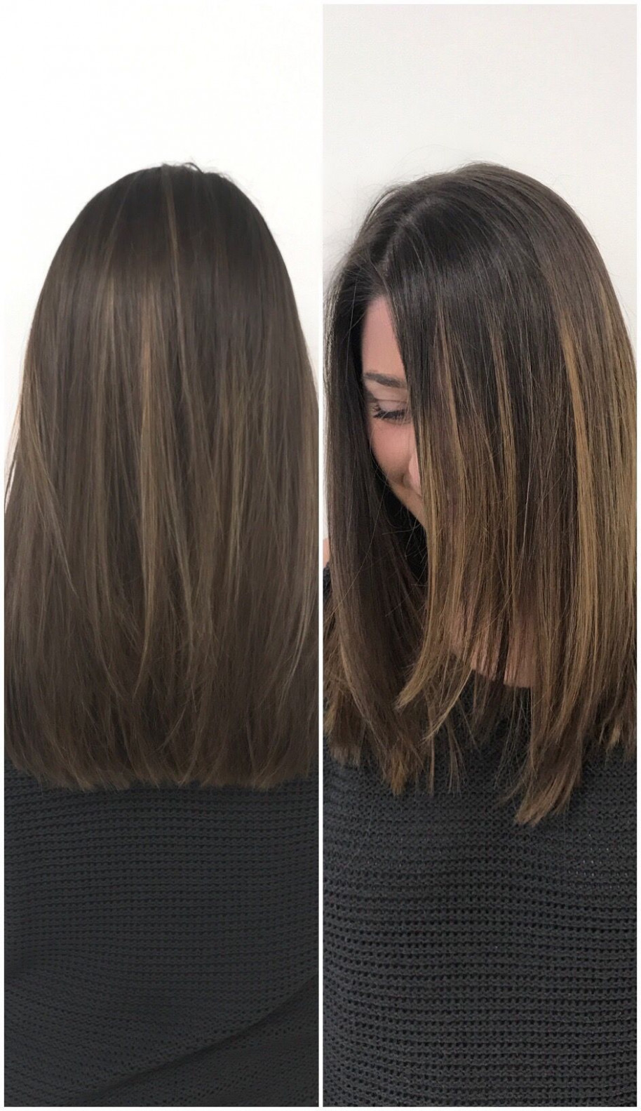 The perfect fall haircut and color for medium length brown hair