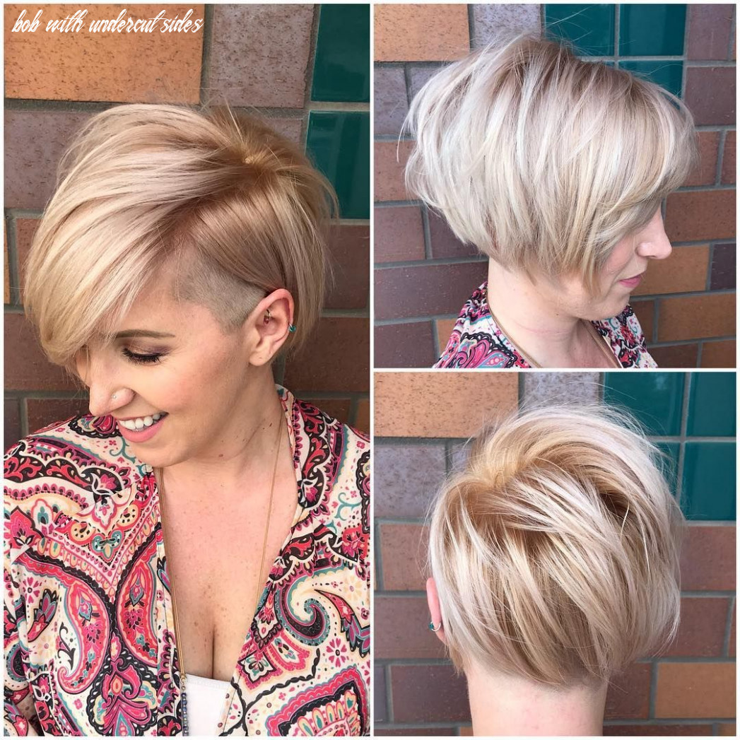 This asymmetric side swept bob with undercut and soft blonde color