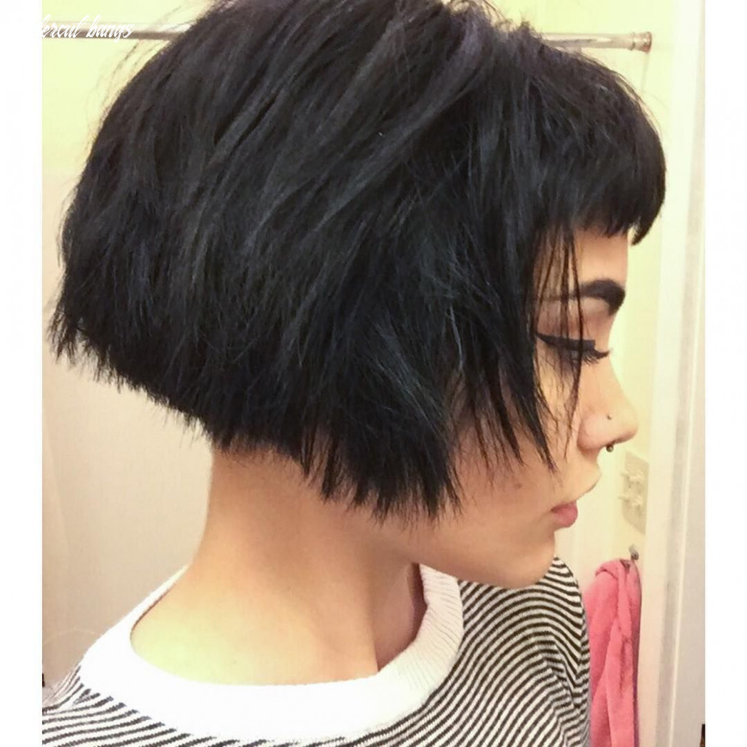 Triangle one length bob with bangs and 12 inch undercut by