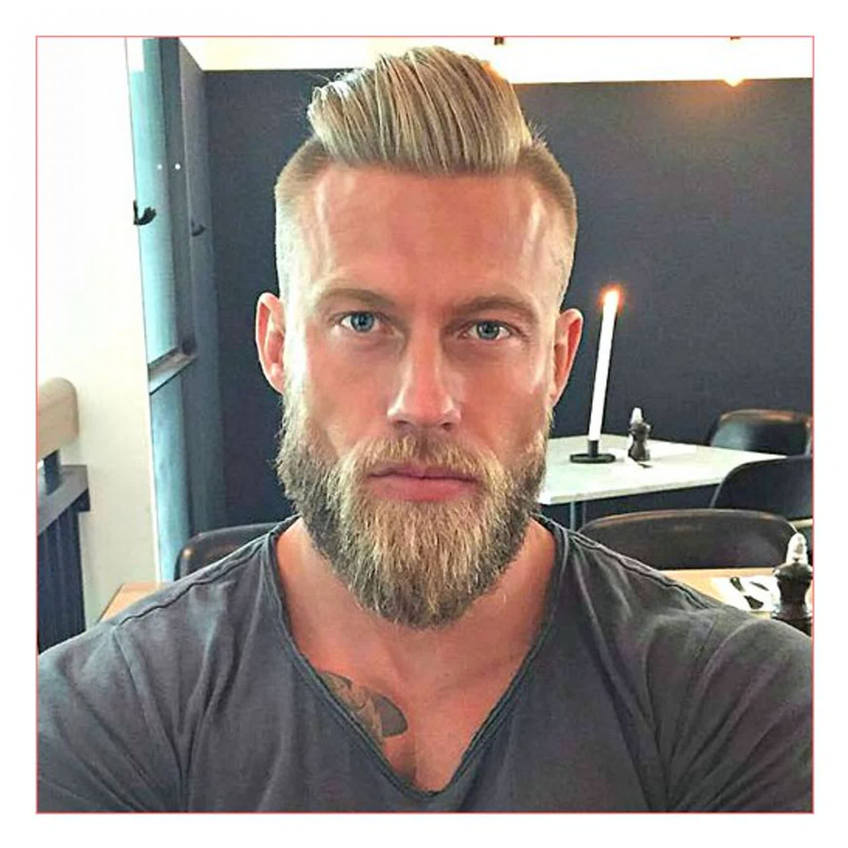 Undercut hairstyle with beard for round face hairstyles beards