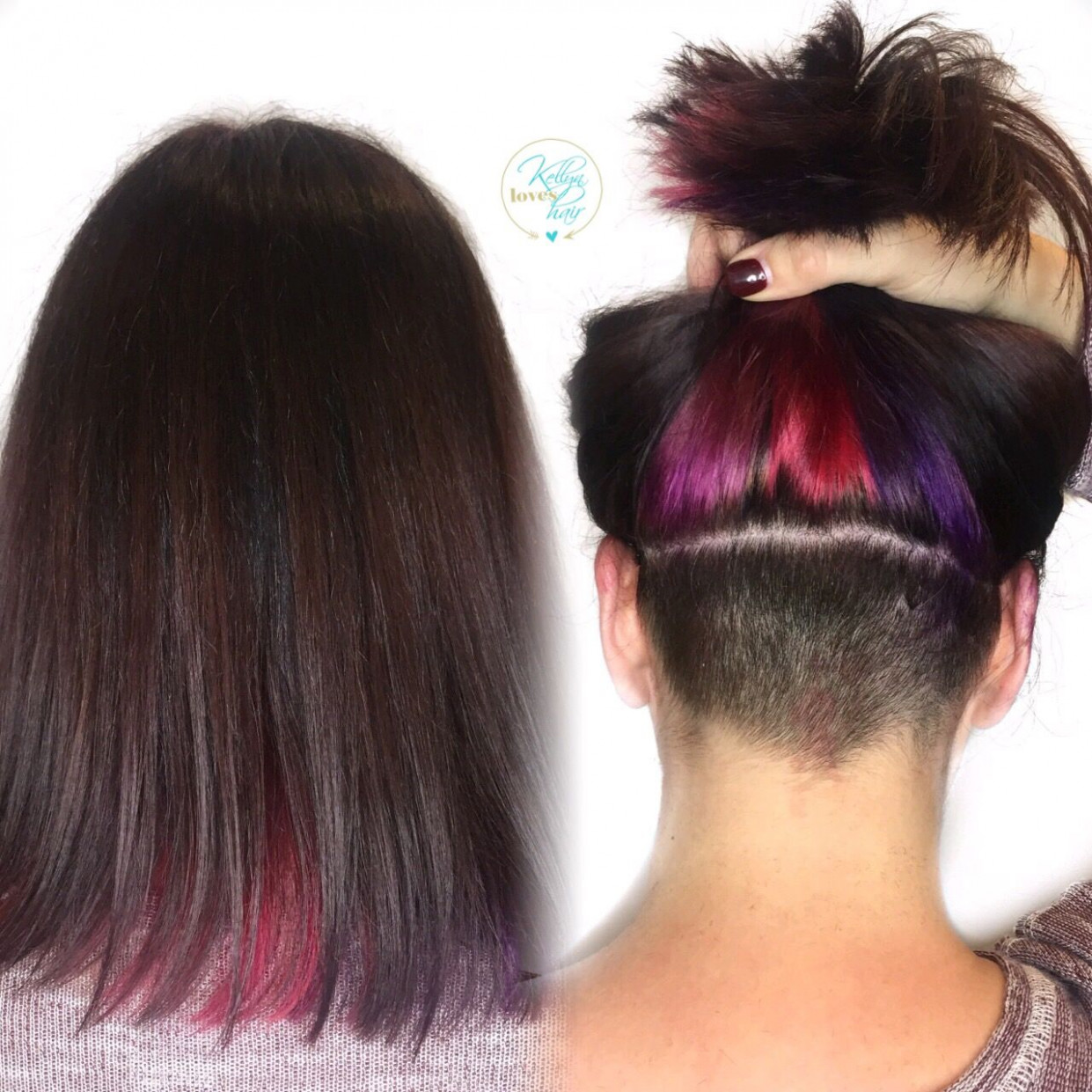 Underlights, hidden rainbow, pink, red, purple hair color, hidden