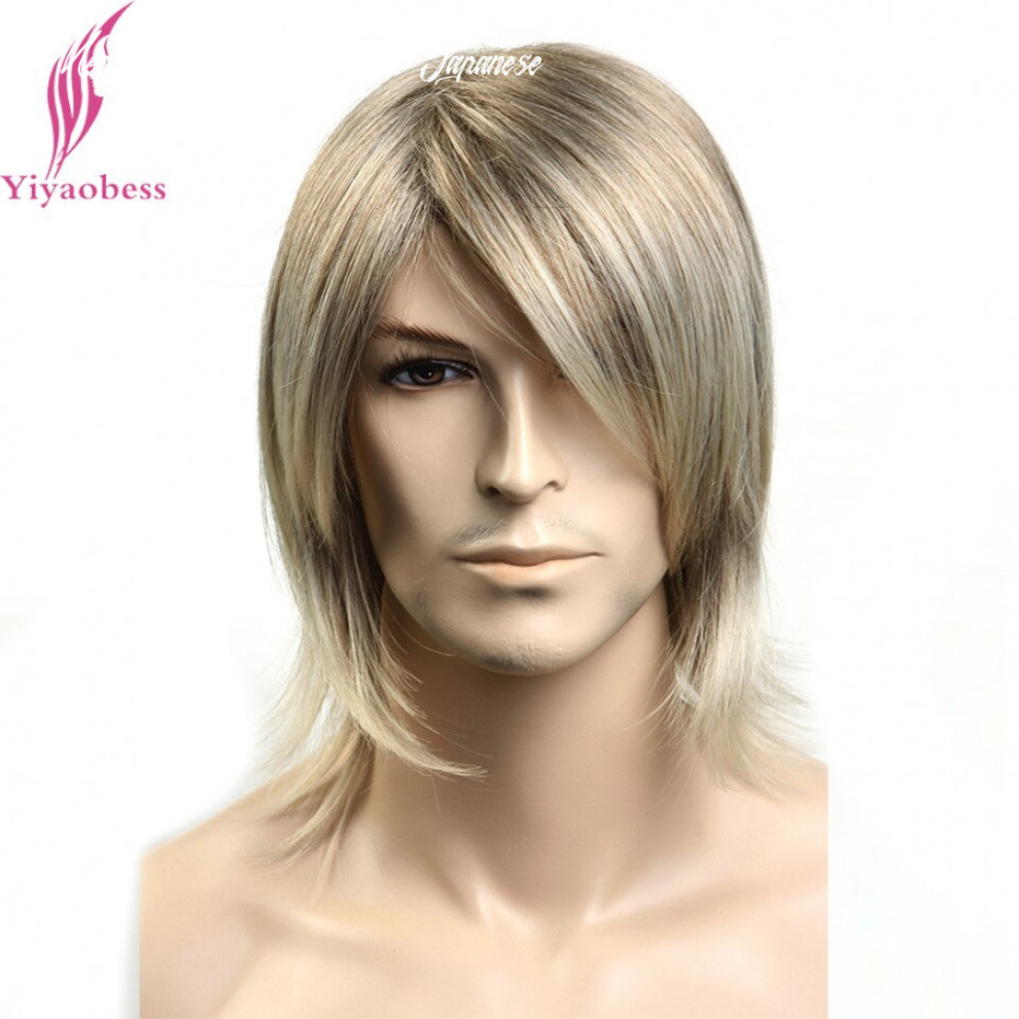 Us $10 10 10% off|yiyaobess 10inch synthetic japanese fiber straight mens hair wig highlights medium length wigs for men japanese fiber|wigs for