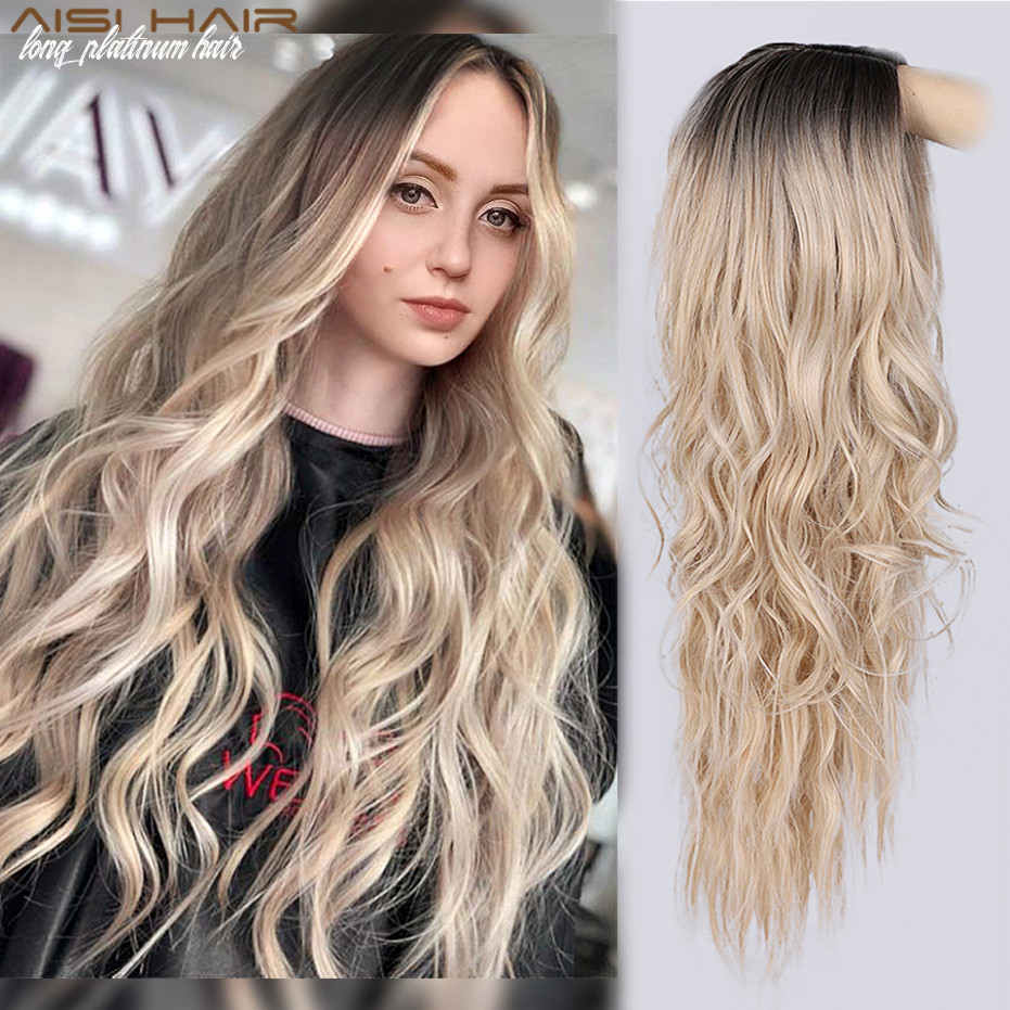 Us $11 11 11% off|aisi hair long wavy ombre blonde wig platinum blonde synthetic wigs for african american women two tone natural middle part