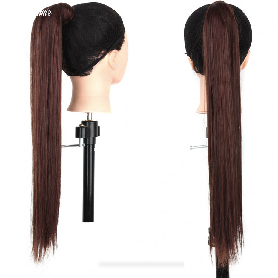 US $11.11 11% OFF|Xnaira Synthetic Clip in Hair Extensions for Women Black  Brown Pony Tail 211 Inch Long Straight Wrap Around Ponytails ...