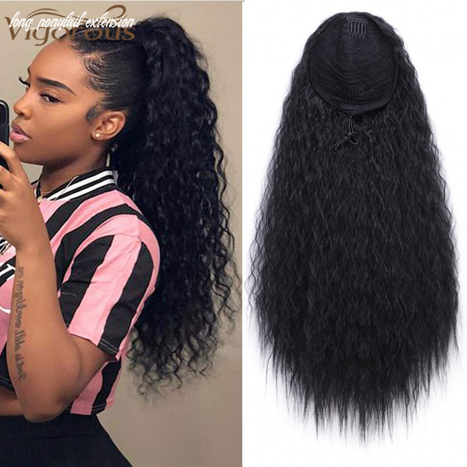 US $11.11 113% OFF|Vigorous Drawstring Ponytail Hair Synthetic Long Afro Kinky  Curly Ponytail Extension for Women Black Brown Clip in Ponytail ...