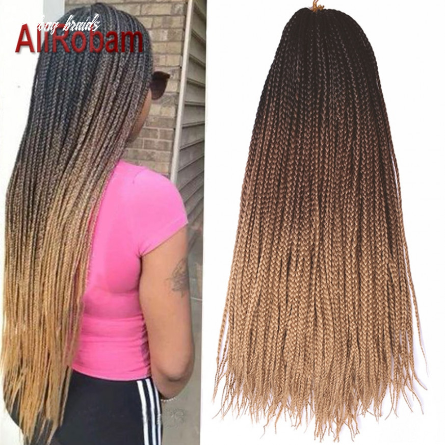 Us $112 11212 112% off|alirobam long crochet braids hair pure or black brown ombre 12 12 tone synthetic box braiding extensions for women 1212 strands/pack on