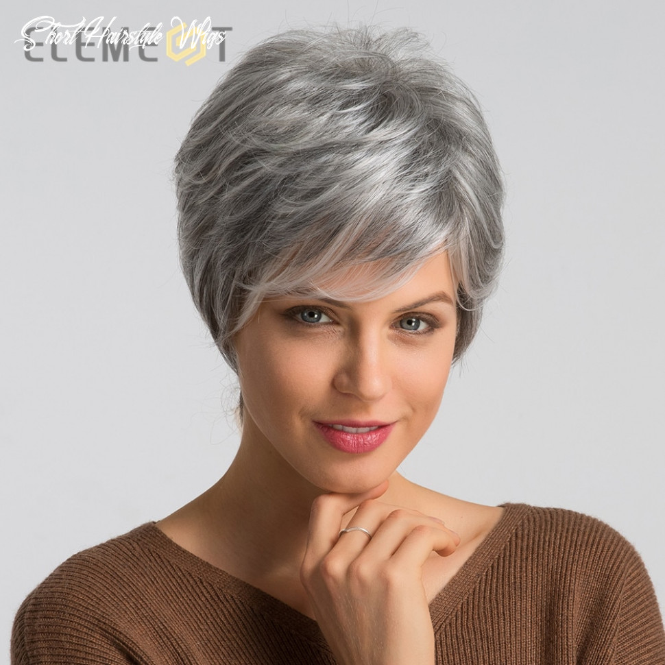 Us $8 8 8% off|element 8 inch synthetic gray short hair wig blend 8% human hair left side parting pixie cut wigs for women free shipping|synthetic