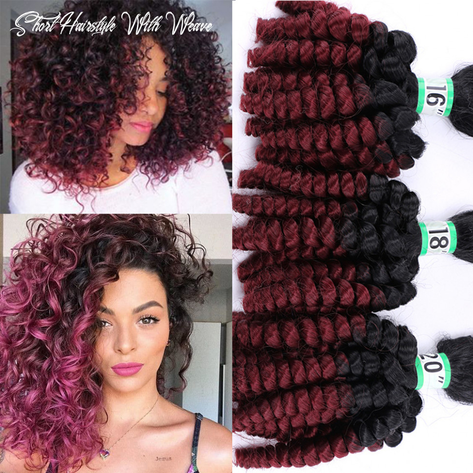 Us $9 9 49% off|natifah ombre bouncy curly short curly synthetic hair weave 19 9 9inch 9g/pcs ombre color curly hair bundles for black