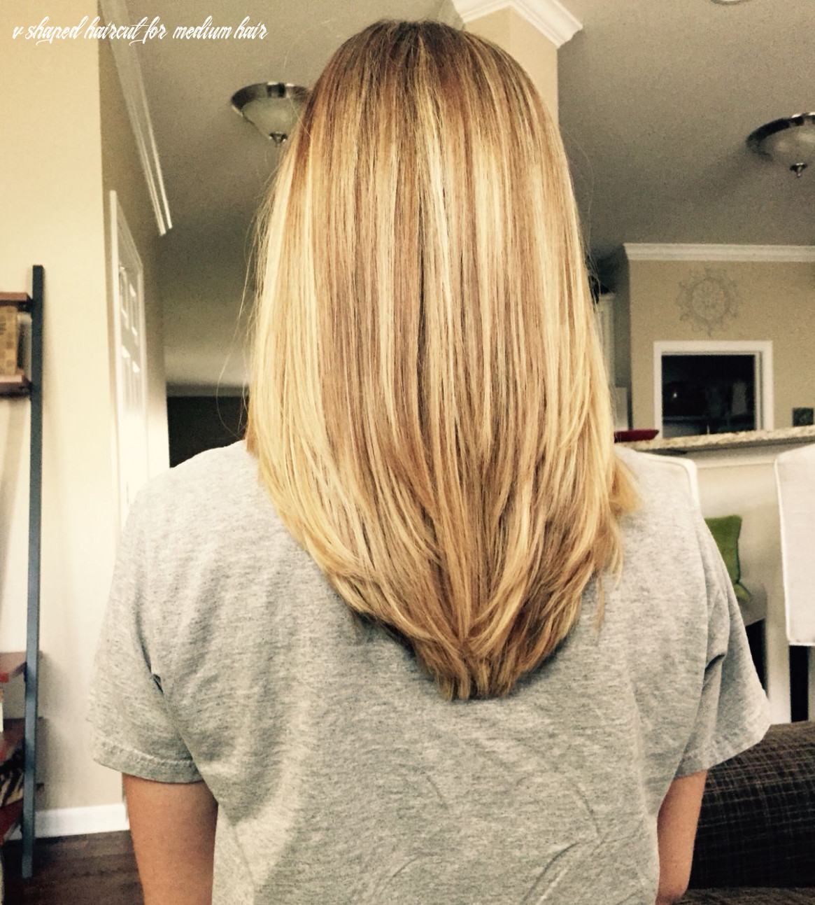 V shape in the back with some long layers! my new hair style very
